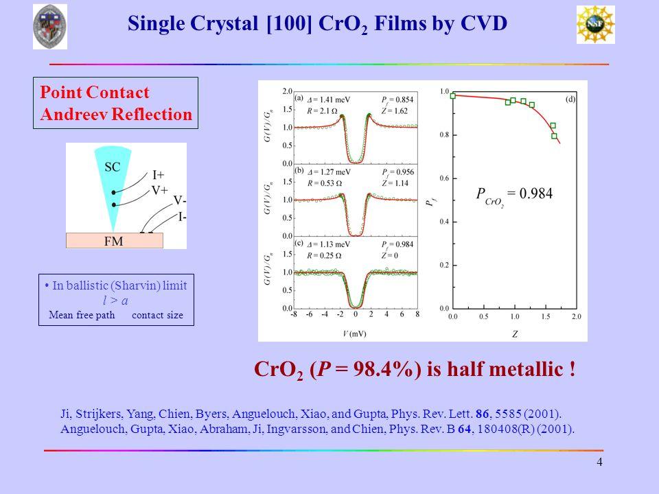 Single Crystal [100] CrO2 Films by CVD